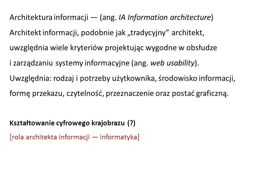 """Architektura informacji — (ang. IA Information architecture) Architekt informacji, podobnie jak """"tradycyjny"""" architekt, uwzględnia wiele kryteriów pro"""