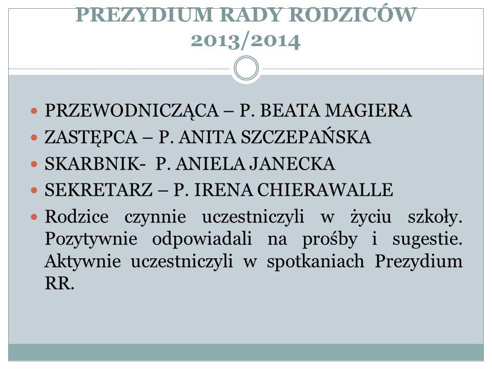 PREZYDIUM RADY RODZICÓW 2013/2014 PRZEWODNICZĄCA – P. BEATA MAGIERA ZASTĘPCA – P. ANITA SZCZEPAŃSKA SKARBNIK- P. ANIELA JANECKA SEKRETARZ – P. IRENA C