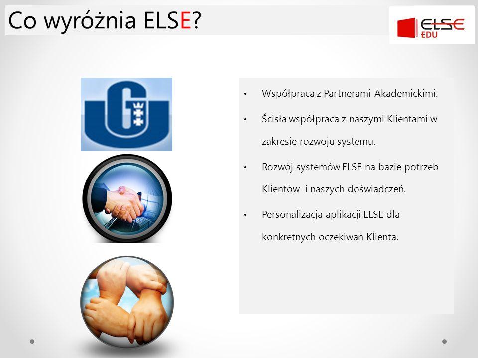 Co wyróżnia ELSE? Współpraca z Partnerami Akademickimi. Ścisła współpraca z naszymi Klientami w zakresie rozwoju systemu. Rozwój systemów ELSE na bazi