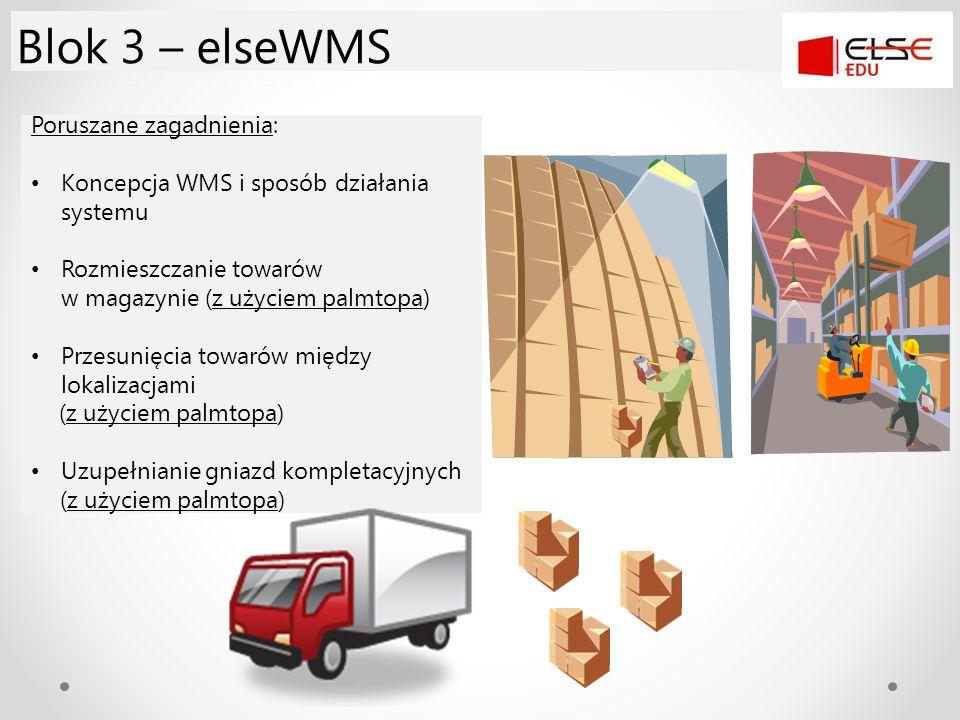 Poruszane zagadnienia: Koncepcja WMS i sposób działania systemu Rozmieszczanie towarów w magazynie (z użyciem palmtopa) Przesunięcia towarów między lo