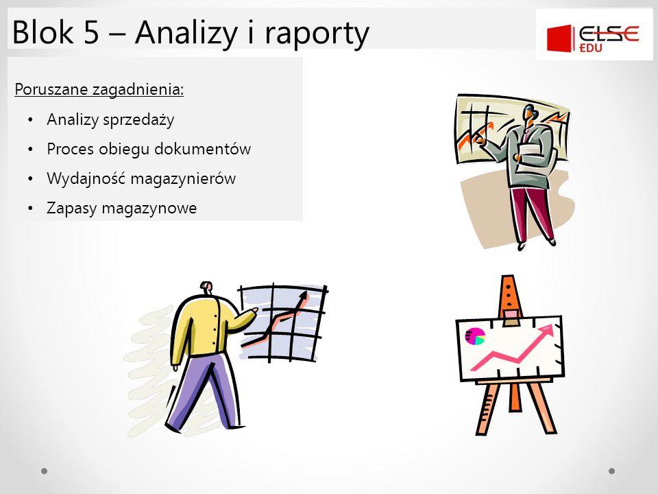 Poruszane zagadnienia: Analizy sprzedaży Proces obiegu dokumentów Wydajność magazynierów Zapasy magazynowe Blok 5 – Analizy i raporty
