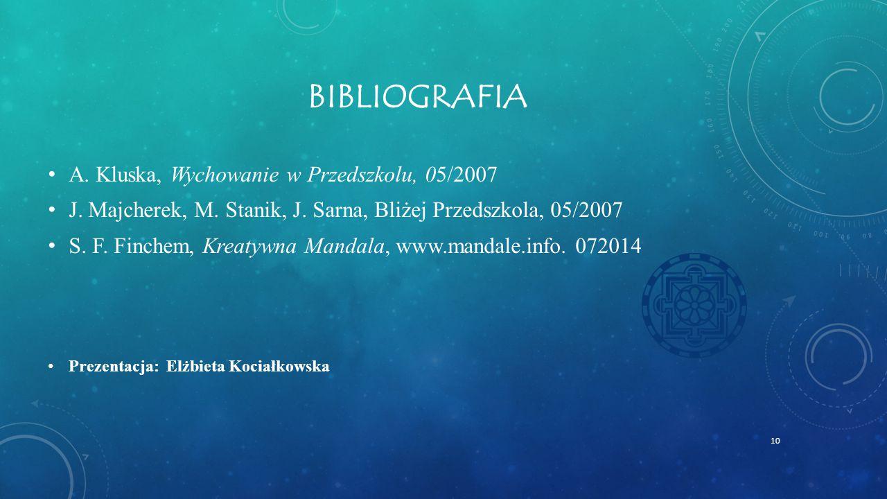 BIBLIOGRAFIA A.Kluska, Wychowanie w Przedszkolu, 05/2007 J.