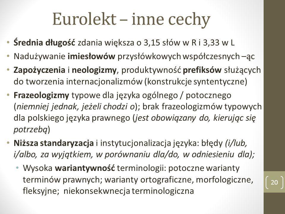 Eurolekt – inne cechy Średnia długość zdania większa o 3,15 słów w R i 3,33 w L Nadużywanie imiesłowów przysłówkowych współczesnych –ąc Zapożyczenia i