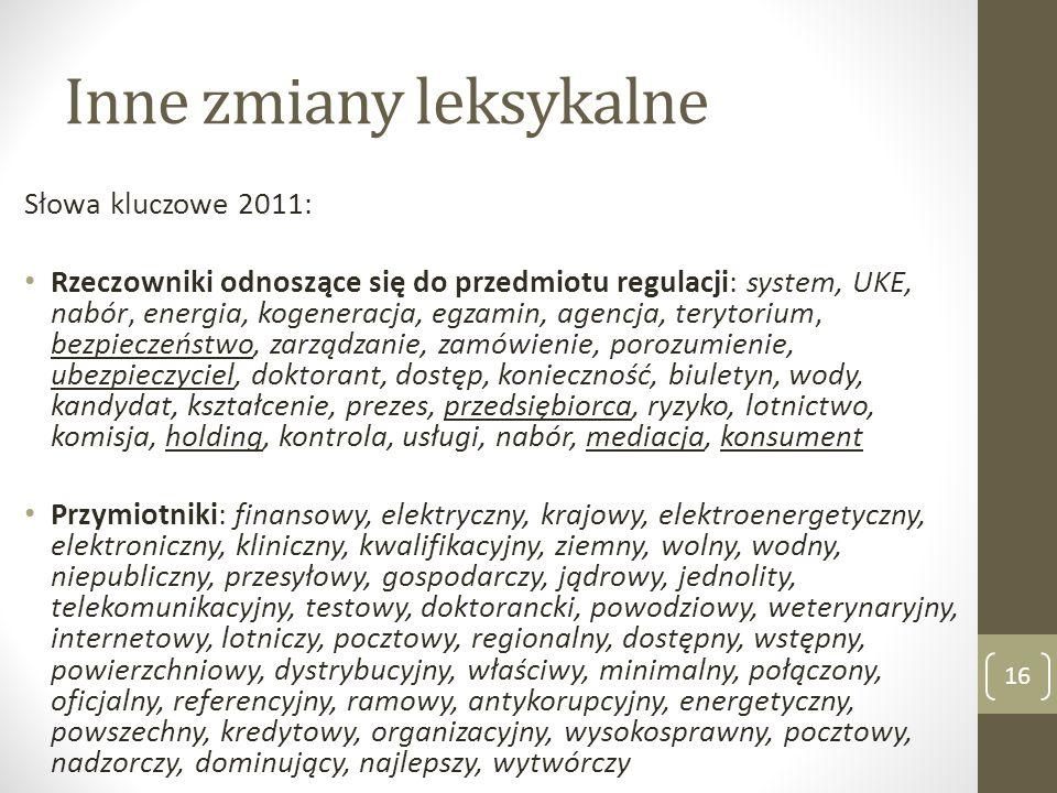 Inne zmiany leksykalne Słowa kluczowe 2011: Rzeczowniki odnoszące się do przedmiotu regulacji: system, UKE, nabór, energia, kogeneracja, egzamin, agen