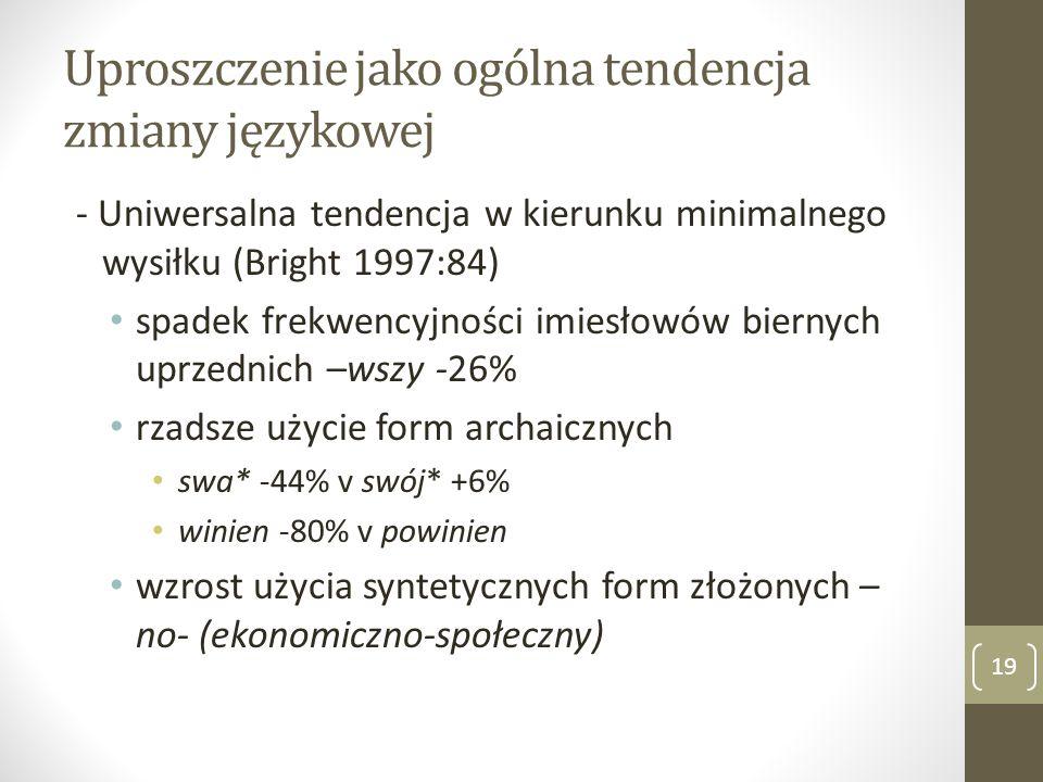 Uproszczenie jako ogólna tendencja zmiany językowej - Uniwersalna tendencja w kierunku minimalnego wysiłku (Bright 1997:84) spadek frekwencyjności imi