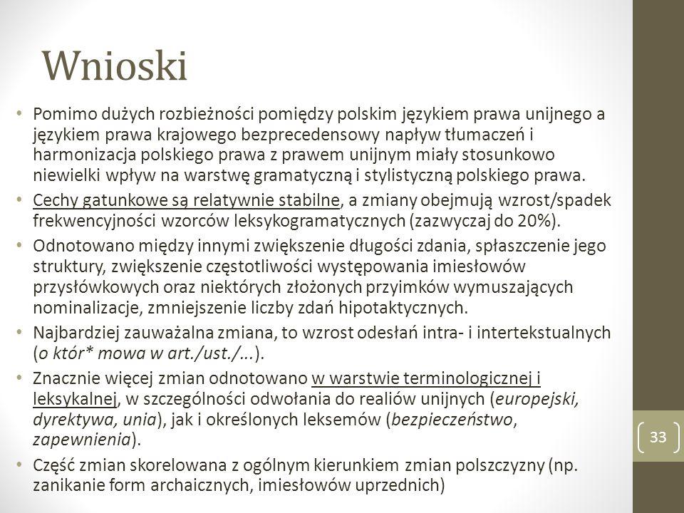 Wnioski Pomimo dużych rozbieżności pomiędzy polskim językiem prawa unijnego a językiem prawa krajowego bezprecedensowy napływ tłumaczeń i harmonizacja