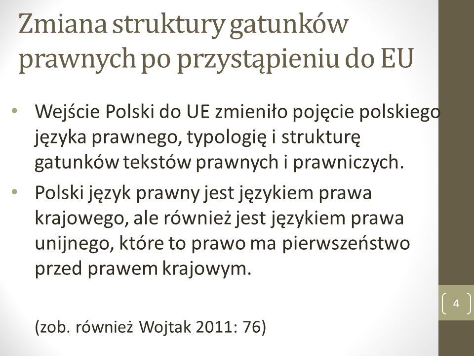 Zmiana struktury gatunków prawnych po przystąpieniu do EU Wejście Polski do UE zmieniło pojęcie polskiego języka prawnego, typologię i strukturę gatun