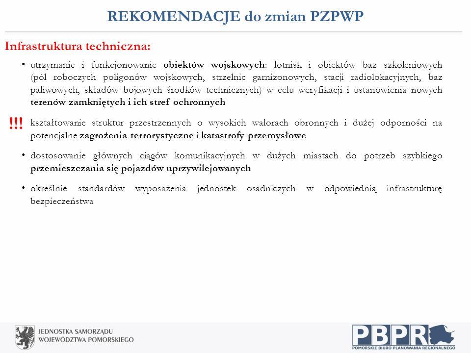 REKOMENDACJE do zmian PZPWP Infrastruktura techniczna: utrzymanie i funkcjonowanie obiektów wojskowych: lotnisk i obiektów baz szkoleniowych (pól robo