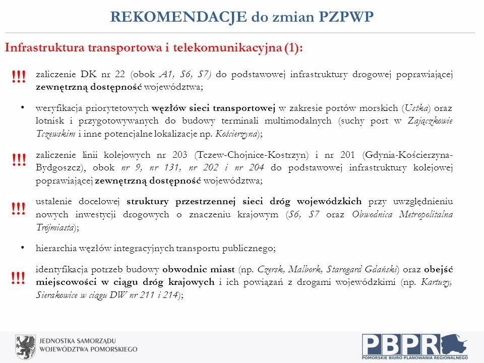 REKOMENDACJE do zmian PZPWP Infrastruktura transportowa i telekomunikacyjna (1): zaliczenie DK nr 22 (obok A1, S6, S7) do podstawowej infrastruktury d