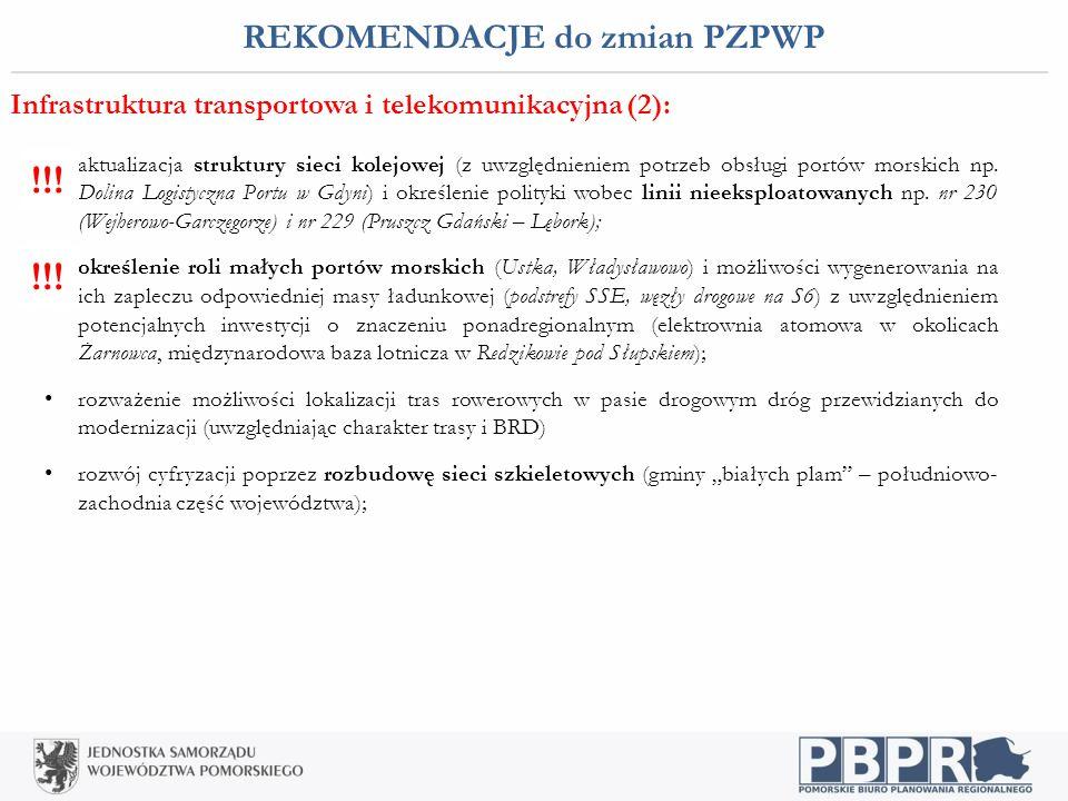 REKOMENDACJE do zmian PZPWP Infrastruktura transportowa i telekomunikacyjna (2): aktualizacja struktury sieci kolejowej (z uwzględnieniem potrzeb obsł