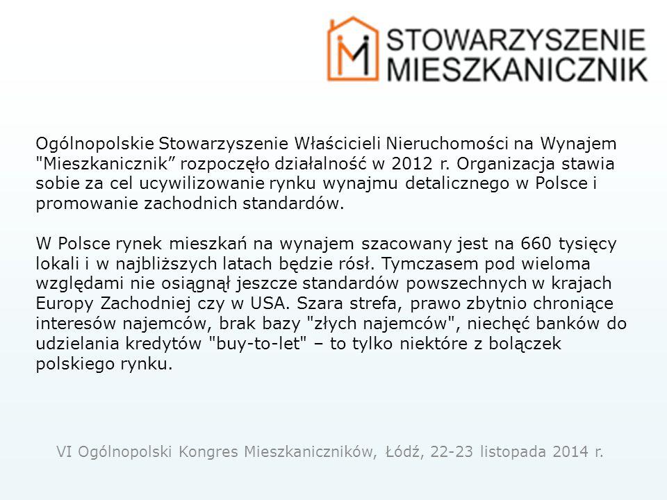 Ogólnopolskie Stowarzyszenie Właścicieli Nieruchomości na Wynajem Mieszkanicznik rozpoczęło działalność w 2012 r.