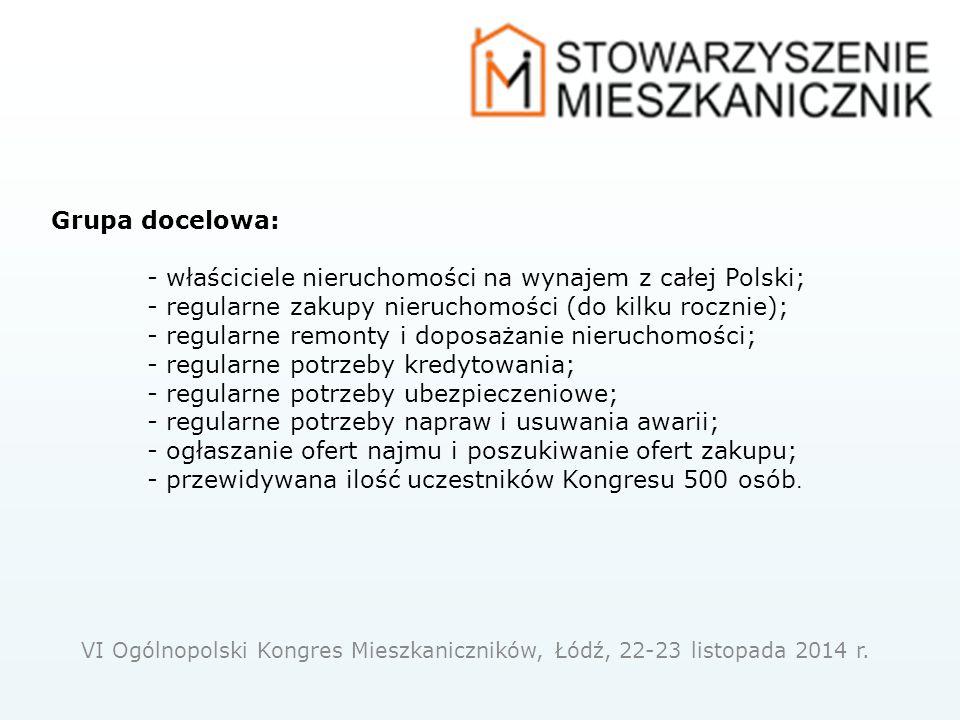 Grupa docelowa: - właściciele nieruchomości na wynajem z całej Polski; - regularne zakupy nieruchomości (do kilku rocznie); - regularne remonty i doposaż a nie nieruchomości; - regularne potrzeby kredytowania; - regularne potrzeby ubezpieczeniowe; - regularne potrzeby napraw i usuwania awarii; - ogłaszanie ofert najmu i poszukiwanie ofert zakupu; - przewidywana ilość uczestników Kongresu 500 osób.