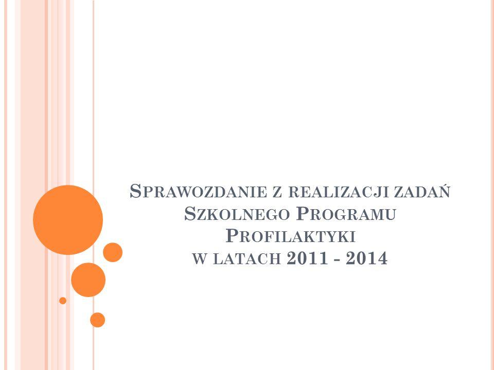 S PRAWOZDANIE Z REALIZACJI ZADAŃ S ZKOLNEGO P ROGRAMU P ROFILAKTYKI W LATACH 2011 - 2014