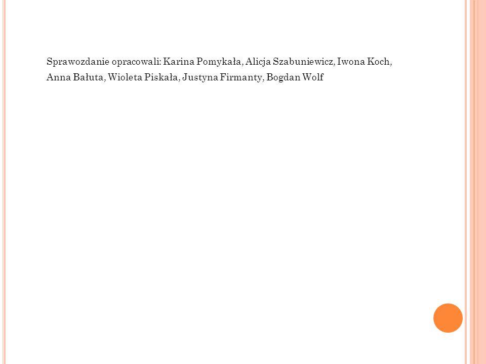 Sprawozdanie opracowali: Karina Pomykała, Alicja Szabuniewicz, Iwona Koch, Anna Bałuta, Wioleta Piskała, Justyna Firmanty, Bogdan Wolf