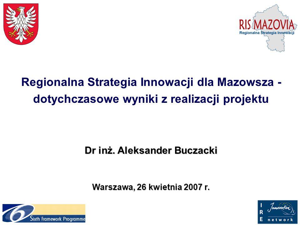 Regionalna Strategia Innowacji dla Mazowsza - dotychczasowe wyniki z realizacji projektu Dr inż. Aleksander Buczacki Warszawa, 26 kwietnia 2007 r.