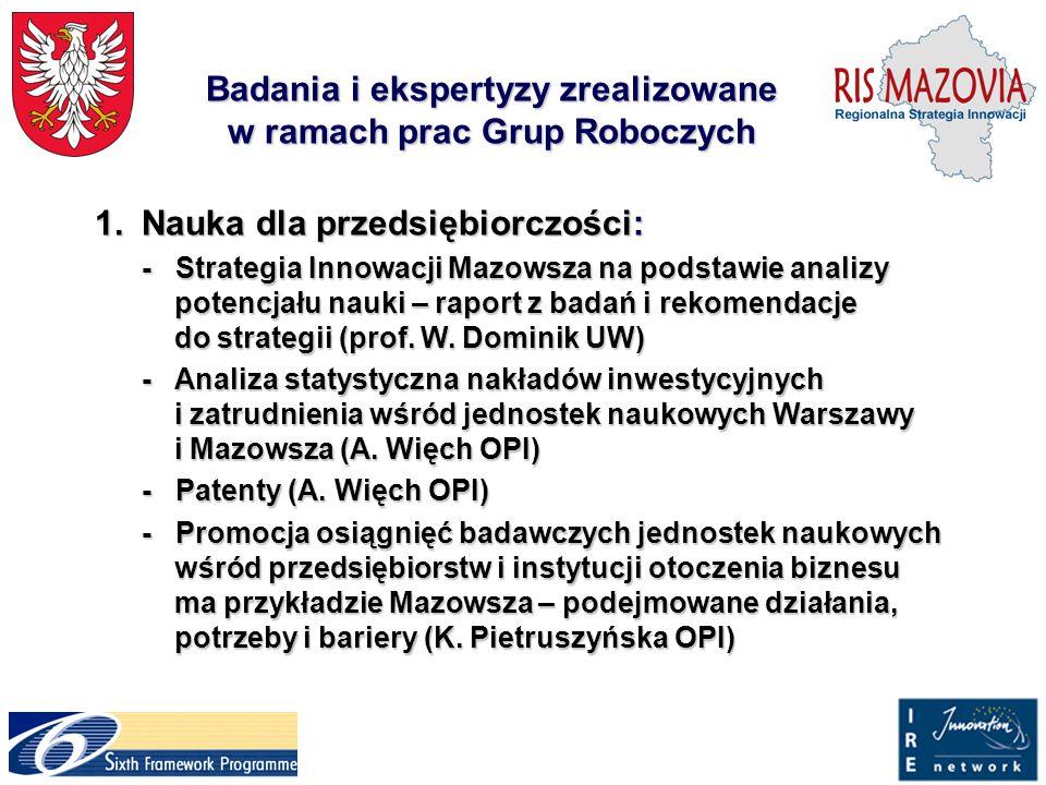 Badania i ekspertyzy zrealizowane w ramach prac Grup Roboczych 1.Nauka dla przedsiębiorczości: 1.Nauka dla przedsiębiorczości: - Strategia Innowacji M