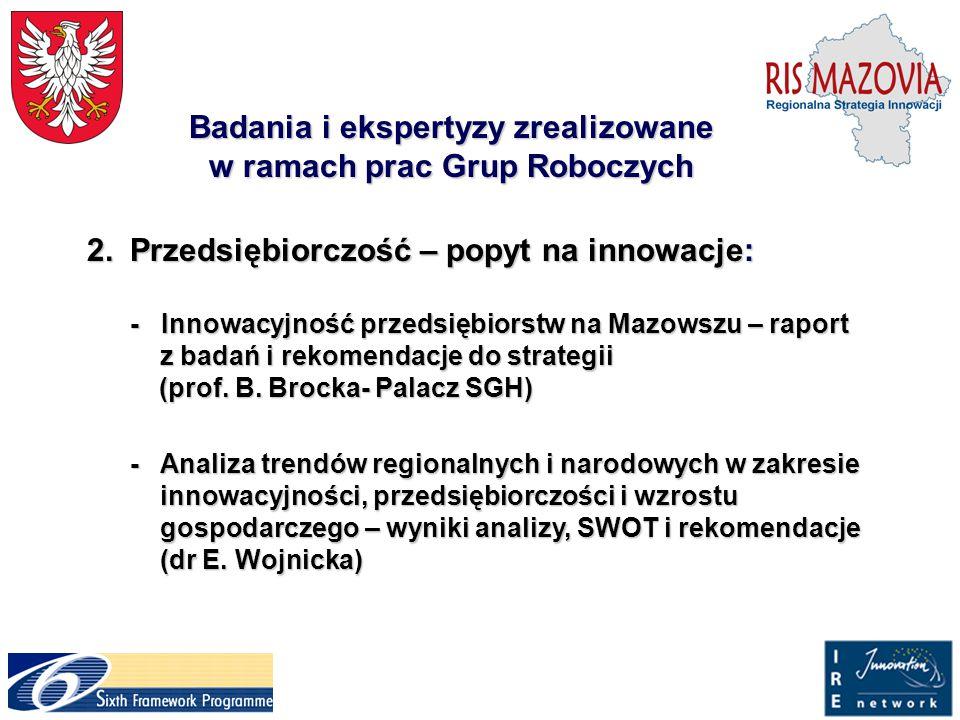 Badania i ekspertyzy zrealizowane w ramach prac Grup Roboczych 2.Przedsiębiorczość – popyt na innowacje: 2.Przedsiębiorczość – popyt na innowacje: - I