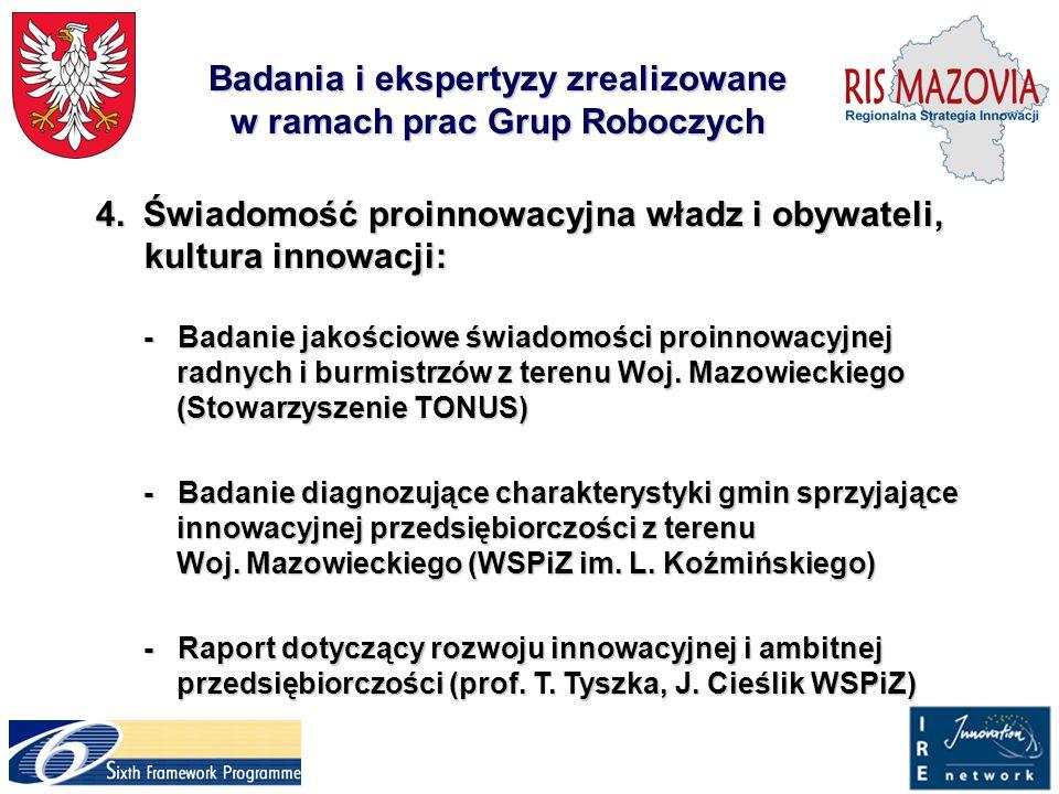 Badania i ekspertyzy zrealizowane w ramach prac Grup Roboczych 4.Świadomość proinnowacyjna władz i obywateli, kultura innowacji: 4.Świadomość proinnow