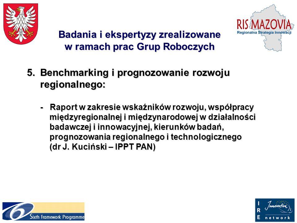 Badania i ekspertyzy zrealizowane w ramach prac Grup Roboczych 5.Benchmarking i prognozowanie rozwoju regionalnego: 5.Benchmarking i prognozowanie roz