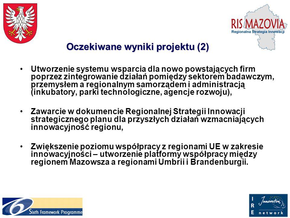 Oczekiwane wyniki projektu (2) Utworzenie systemu wsparcia dla nowo powstających firm poprzez zintegrowanie działań pomiędzy sektorem badawczym, przem