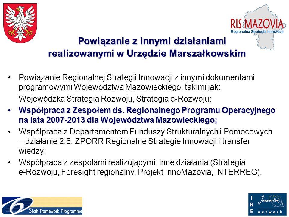 Powiązanie z innymi działaniami realizowanymi w Urzędzie Marszałkowskim Powiązanie Regionalnej Strategii Innowacji z innymi dokumentami programowymi W