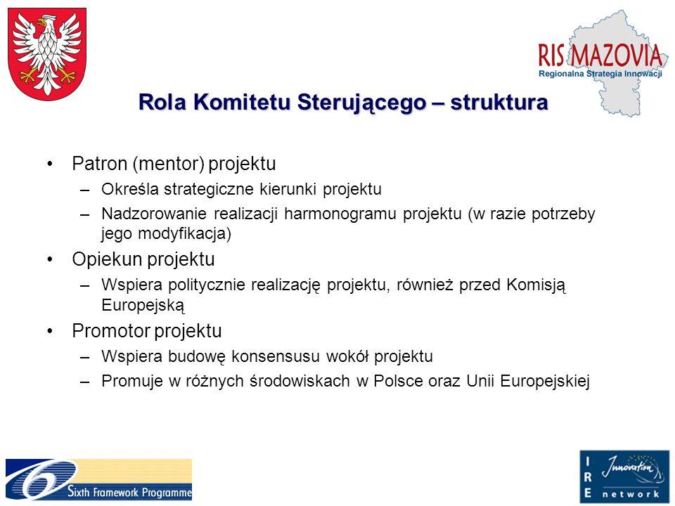 Rola Komitetu Sterującego – struktura Patron (mentor) projektu –Określa strategiczne kierunki projektu –Nadzorowanie realizacji harmonogramu projektu
