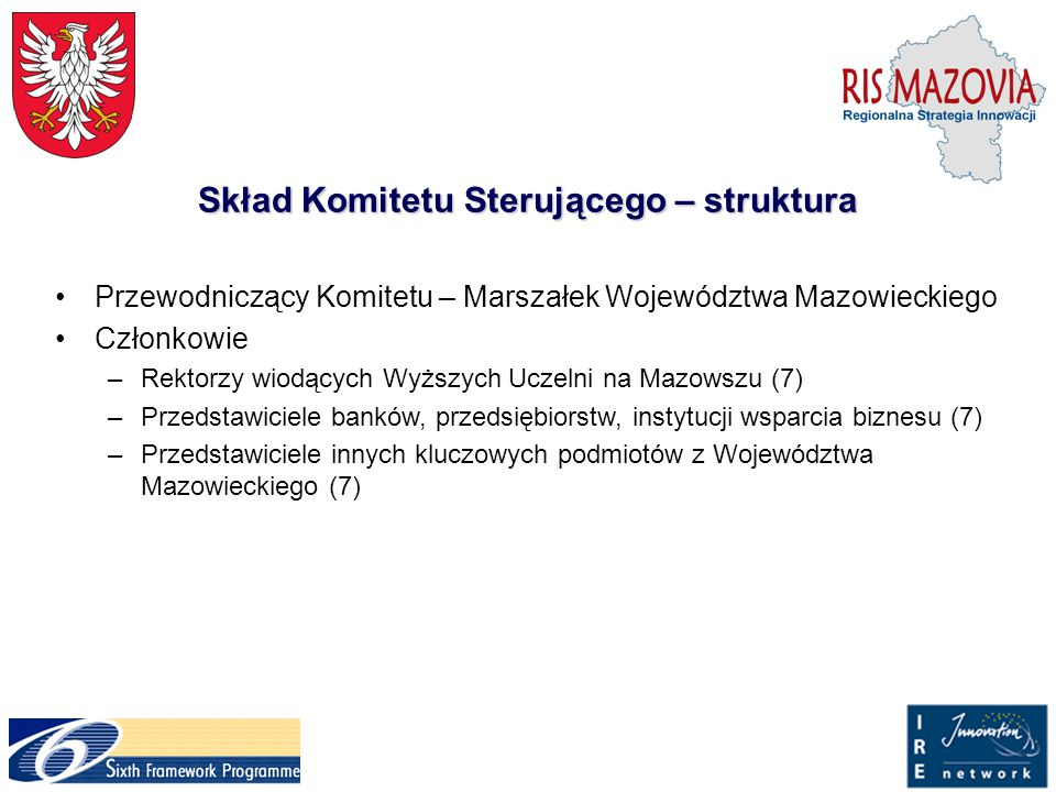 Oczekiwane wyniki projektu (2) Utworzenie systemu wsparcia dla nowo powstających firm poprzez zintegrowanie działań pomiędzy sektorem badawczym, przemysłem a regionalnym samorządem i administracją (inkubatory, parki technologiczne, agencje rozwoju), Zawarcie w dokumencie Regionalnej Strategii Innowacji strategicznego planu dla przyszłych działań wzmacniających innowacyjność regionu, Zwiększenie poziomu współpracy z regionami UE w zakresie innowacyjności – utworzenie platformy współpracy między regionem Mazowsza a regionami Umbrii i Brandenburgii.