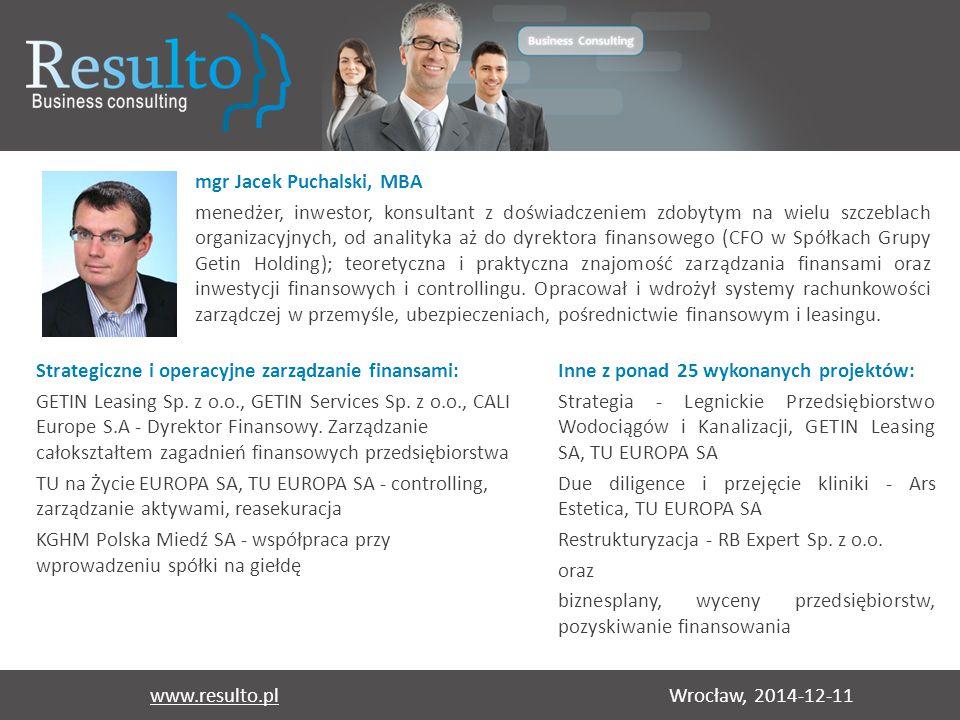 Wrocław, 2014-12-11www.resulto.pl mgr Jacek Puchalski, MBA menedżer, inwestor, konsultant z doświadczeniem zdobytym na wielu szczeblach organizacyjnyc