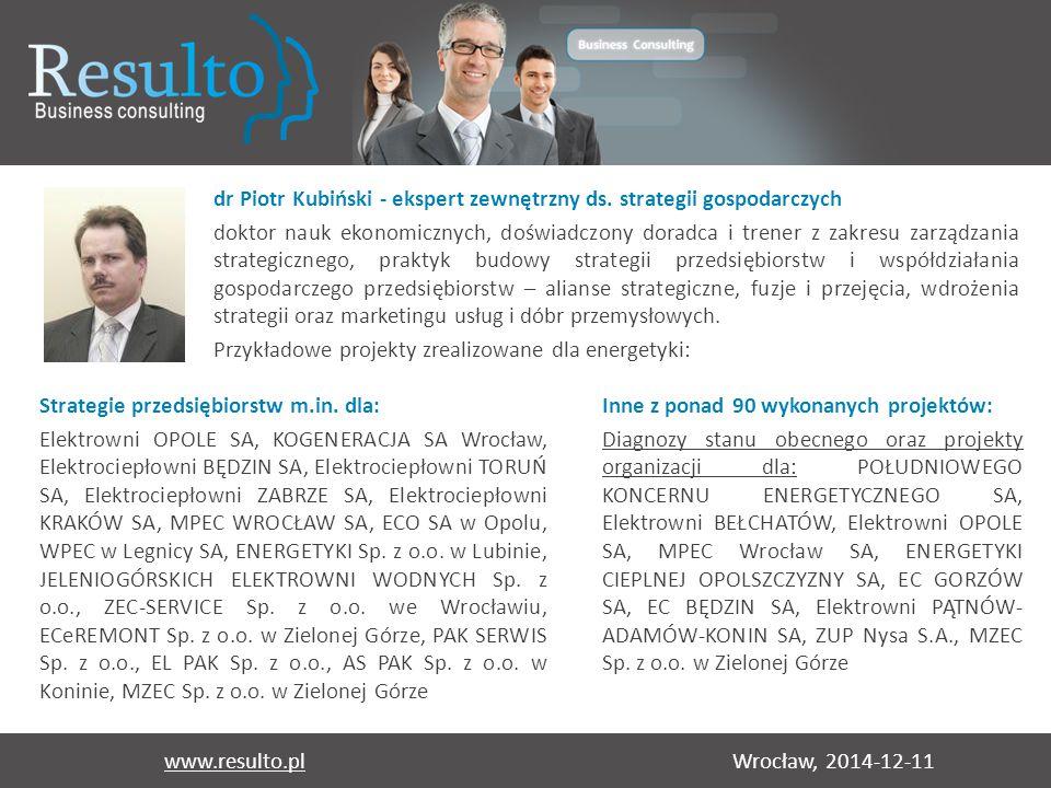 Wrocław, 2014-12-11www.resulto.pl dr Piotr Kubiński - ekspert zewnętrzny ds. strategii gospodarczych doktor nauk ekonomicznych, doświadczony doradca i