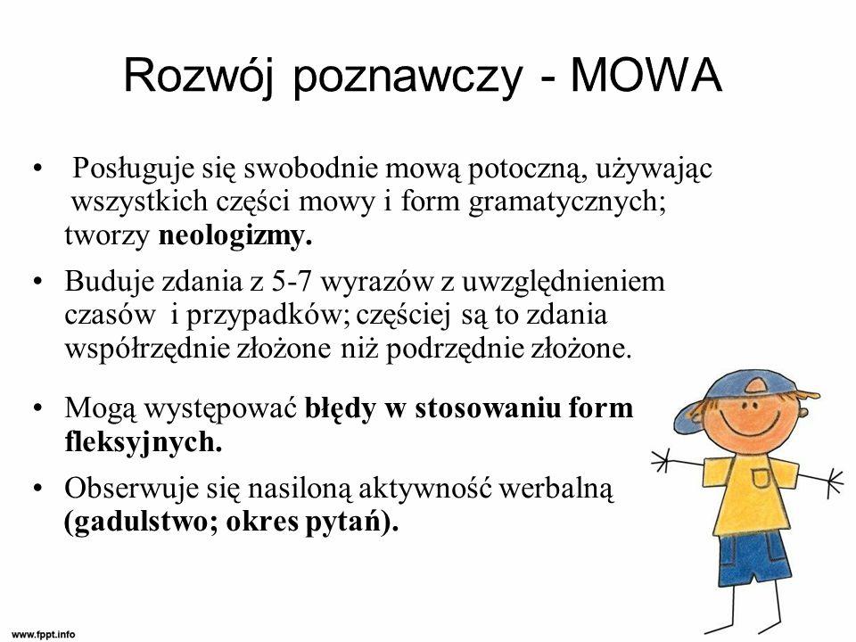 Posługuje się swobodnie mową potoczną, używając wszystkich części mowy i form gramatycznych; tworzy neologizmy.