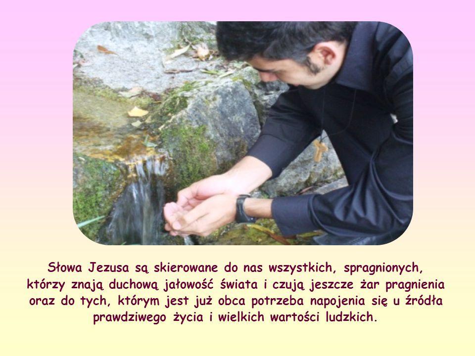 """""""Każdy, kto pije tę wodę, znów będzie pragnął. Kto zaś będzie pił wodę, którą Ja mu dam, stanie się źródłem wody wytryskującej ku życiu wiecznemu"""" (J"""