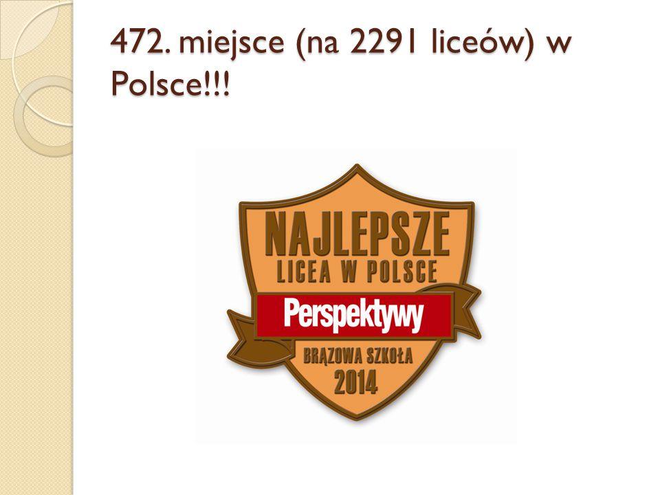 472. miejsce (na 2291 liceów) w Polsce!!!