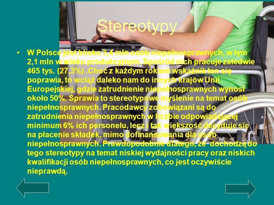 Stereotypy W Polsce jest blisko 3,4 mln osób niepełnosprawnych, w tym 2,1 mln w wieku produkcyjnym. Spośród nich pracuje zaledwie 465 tys. (27,3%).Cho