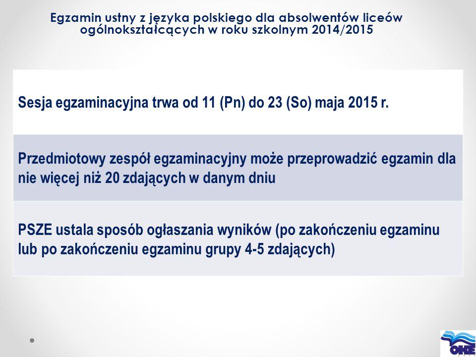 Egzamin ustny z języka polskiego dla absolwentów liceów ogólnokształcących w roku szkolnym 2014/2015 Sesja egzaminacyjna trwa od 11 (Pn) do 23 (So) ma