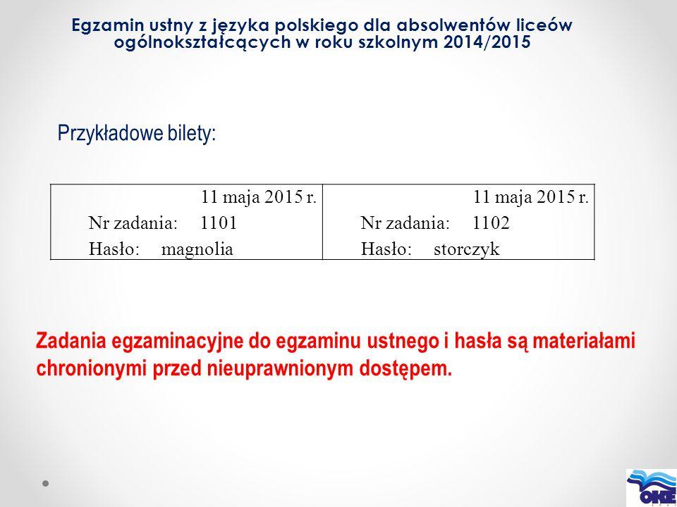 Egzamin ustny z języka polskiego dla absolwentów liceów ogólnokształcących w roku szkolnym 2014/2015 11 maja 2015 r. Nr zadania: 1101 Hasło: magnolia