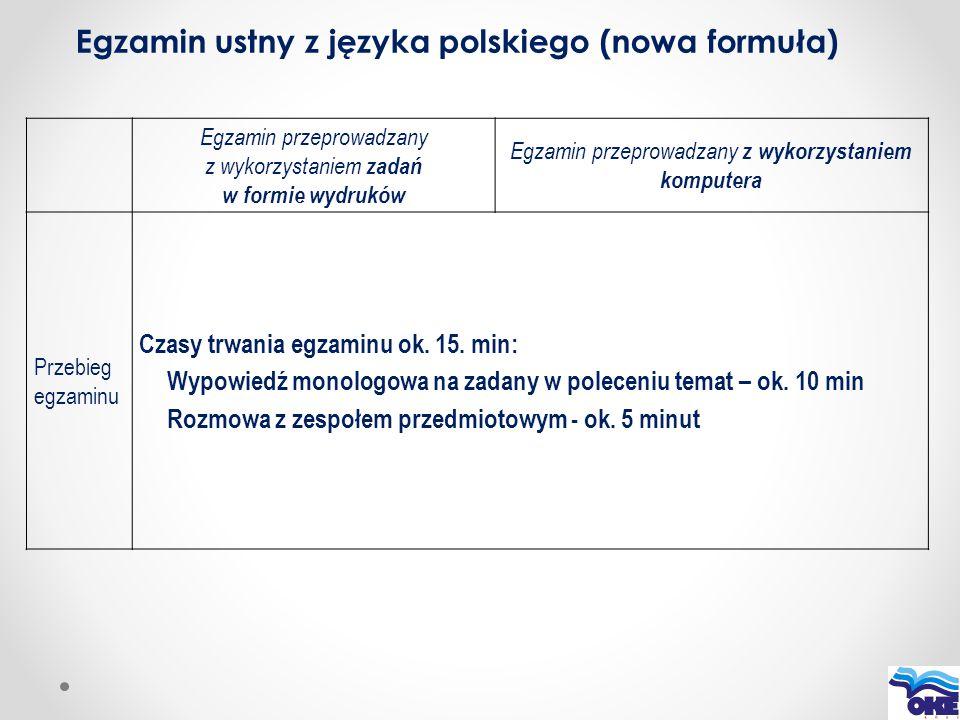 Egzamin ustny z języka polskiego (nowa formuła) Egzamin przeprowadzany z wykorzystaniem zadań w formie wydruków Egzamin przeprowadzany z wykorzystanie