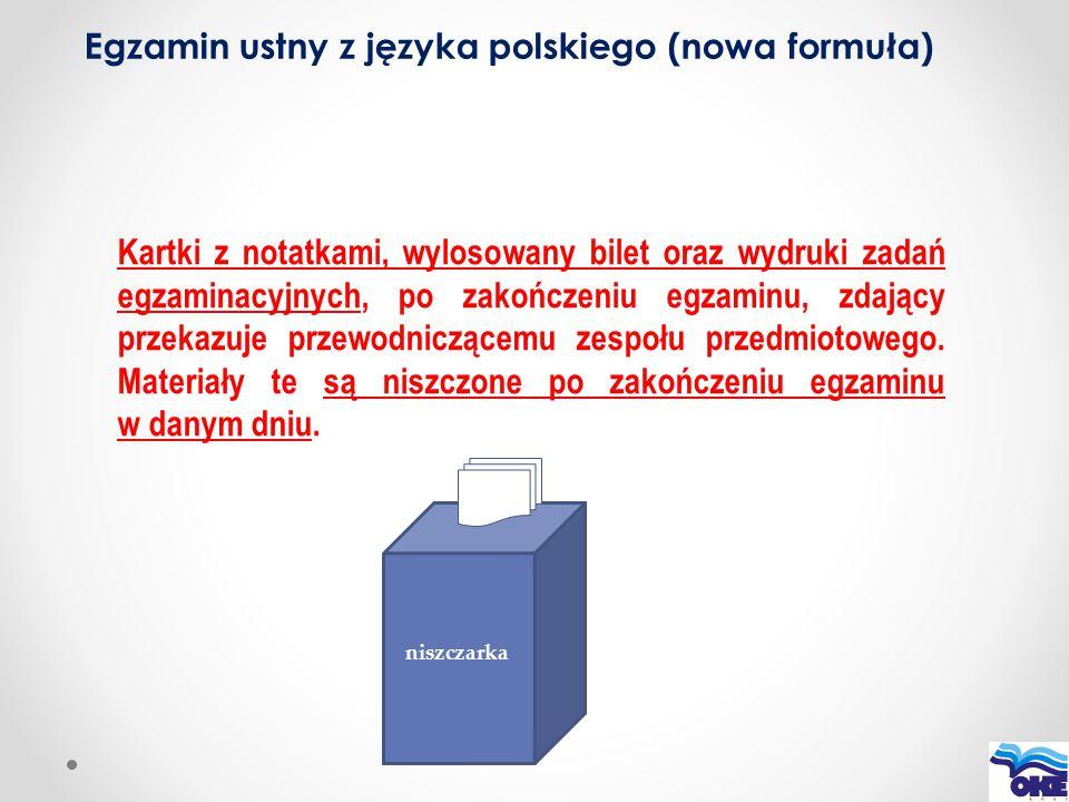 Kartki z notatkami, wylosowany bilet oraz wydruki zadań egzaminacyjnych, po zakończeniu egzaminu, zdający przekazuje przewodniczącemu zespołu przedmio