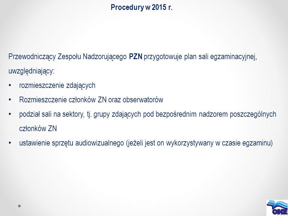 Procedury w 2015 r. Przewodniczący Zespołu Nadzorującego PZN przygotowuje plan sali egzaminacyjnej, uwzględniający: rozmieszczenie zdających Rozmieszc