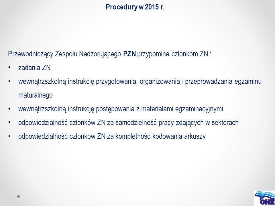 Procedury w 2015 r. Przewodniczący Zespołu Nadzorującego PZN przypomina członkom ZN : zadania ZN wewnątrzszkolną instrukcję przygotowania, organizowan