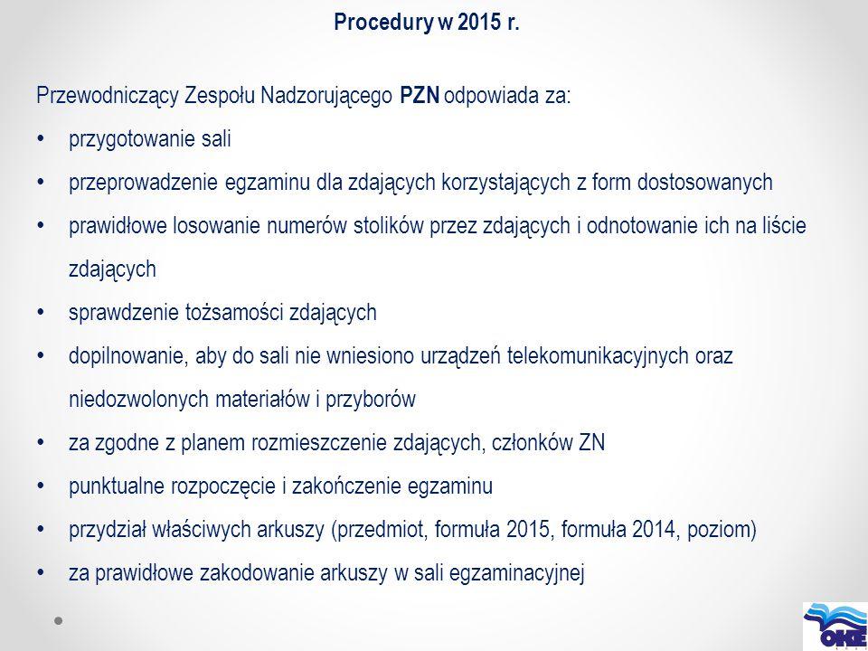 Procedury w 2015 r. Przewodniczący Zespołu Nadzorującego PZN odpowiada za: przygotowanie sali przeprowadzenie egzaminu dla zdających korzystających z