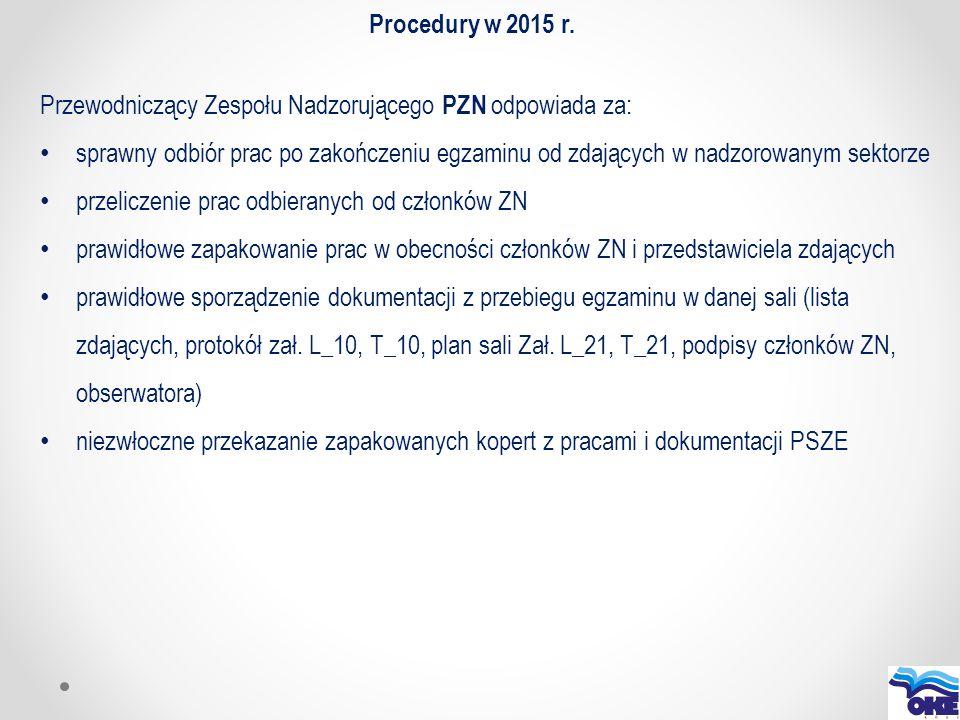 Procedury w 2015 r. Przewodniczący Zespołu Nadzorującego PZN odpowiada za: sprawny odbiór prac po zakończeniu egzaminu od zdających w nadzorowanym sek