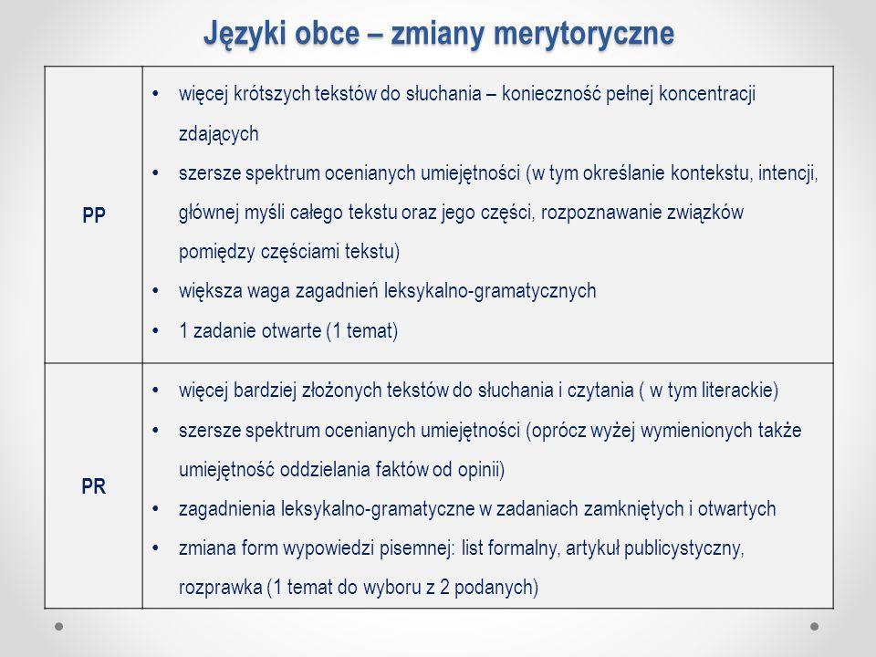 Języki obce – zmiany merytoryczne PP więcej krótszych tekstów do słuchania – konieczność pełnej koncentracji zdających szersze spektrum ocenianych umi