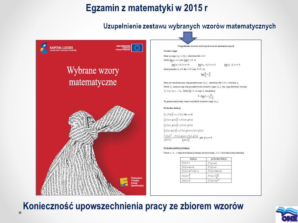 Egzamin z matematyki w 2015 r Uzupełnienie zestawu wybranych wzorów matematycznych Konieczność upowszechnienia pracy ze zbiorem wzorów