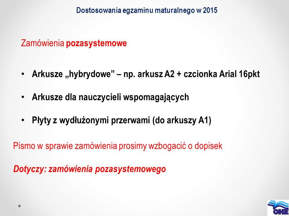 """Dostosowania egzaminu maturalnego w 2015 Zamówienia pozasystemowe Arkusze """"hybrydowe"""" – np. arkusz A2 + czcionka Arial 16pkt Arkusze dla nauczycieli w"""