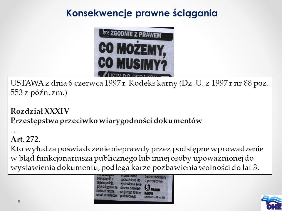 USTAWA z dnia 6 czerwca 1997 r. Kodeks karny (Dz. U. z 1997 r nr 88 poz. 553 z późn. zm.) Rozdział XXXIV Przestępstwa przeciwko wiarygodności dokument