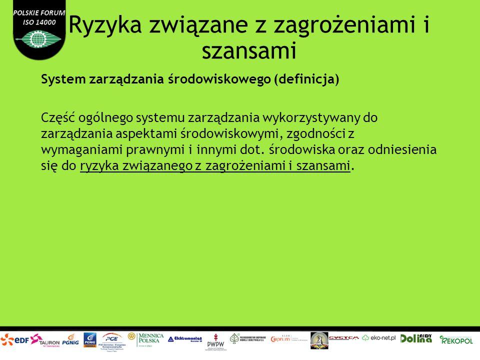 Ryzyka związane z zagrożeniami i szansami System zarządzania środowiskowego (definicja) Część ogólnego systemu zarządzania wykorzystywany do zarządzan