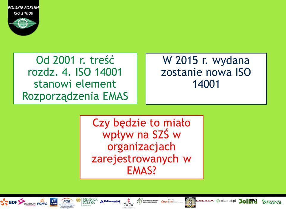 Od 2001 r. treść rozdz. 4. ISO 14001 stanowi element Rozporządzenia EMAS W 2015 r. wydana zostanie nowa ISO 14001 Czy będzie to miało wpływ na SZŚ w o