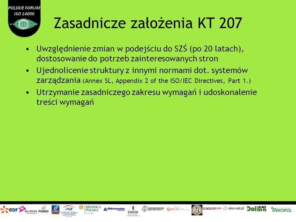 Zasadnicze założenia KT 207 Uwzględnienie zmian w podejściu do SZŚ (po 20 latach), dostosowanie do potrzeb zainteresowanych stron Ujednolicenie strukt