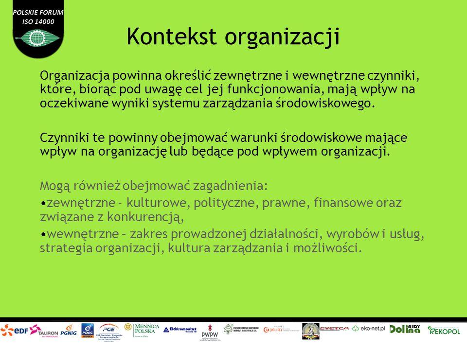 Kontekst organizacji Organizacja powinna określić: strony zainteresowane właściwe dla SZŚ; potrzeby i oczekiwania zainteresowanych stron; które z tych potrzeb i oczekiwań stanowią wymagania dla organizacji Ustalając zakres SZŚ organizacja powinna wziąć pod uwagę zewnętrzne i wewnętrzne czynniki, o których mowa wyżej.