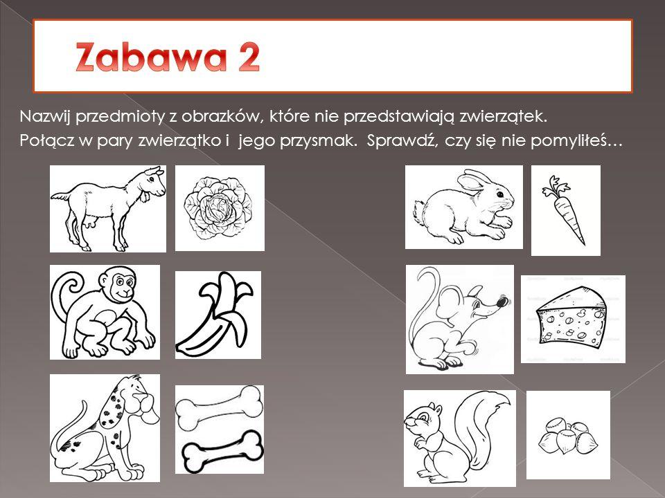 Nazwij przedmioty z obrazków, które nie przedstawiają zwierzątek. Połącz w pary zwierzątko i jego przysmak. Sprawdź, czy się nie pomyliłeś…